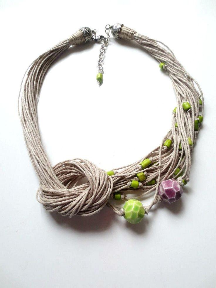 Lino collana perle di ceramica osso perline gioielli