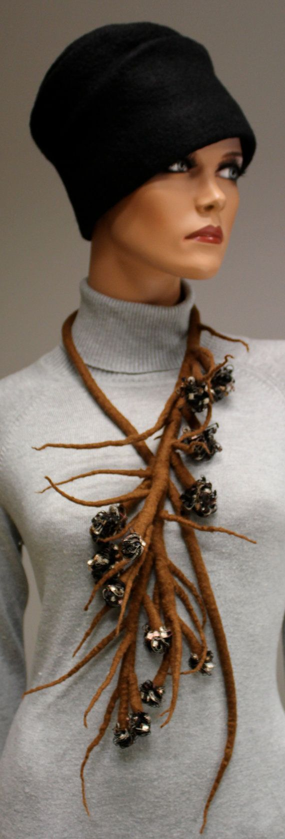 Felted necklace Plant I by doseth on Etsy, €49.00