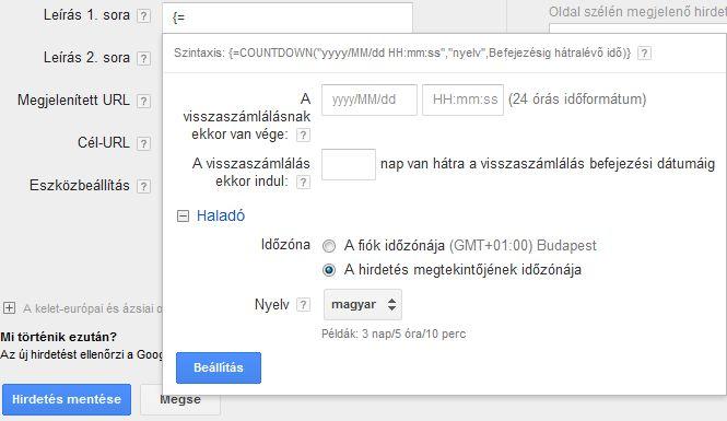 Automatikus visszaszámlálás a #Google #Adwords hirdetési szövegekben
