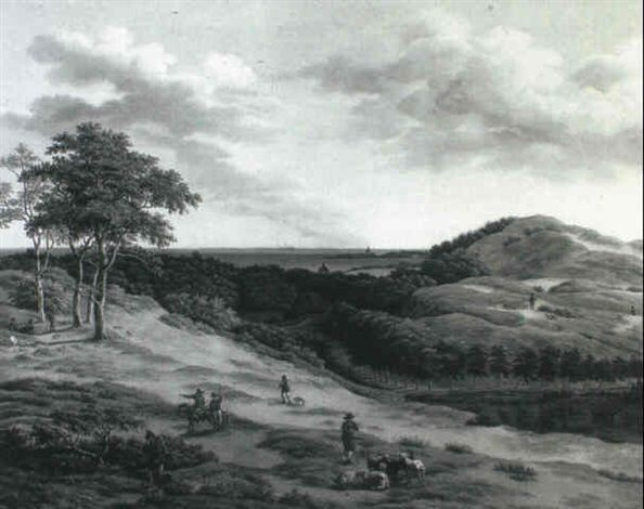 HUNTSMEN AND RUSTICS IN AN EXTENSIVE LANDSCAPE NEAR HAARLEM by Adrianus Serne
