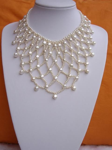Bridal Pearl Necklace #Beads #Necklace #Seed #Round #Pearls #Weave #White