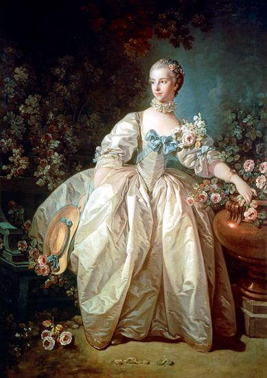"Artist: François Boucher (1703–1770) Title: Madame Bergeret Date 1766 (?) Medium oil on canvas Dimensions 143.5 × 105.4 cm (56.5 × 41.5 in) Current location: National Gallery of Art."" Sweet hat decoration!"