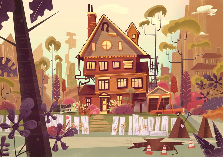 Folio - Illustration Agency | James Gilleard - Vintage • Retro • Animation • Editorial illustrator | Concept Art - Scene - House - Rural - Landscape