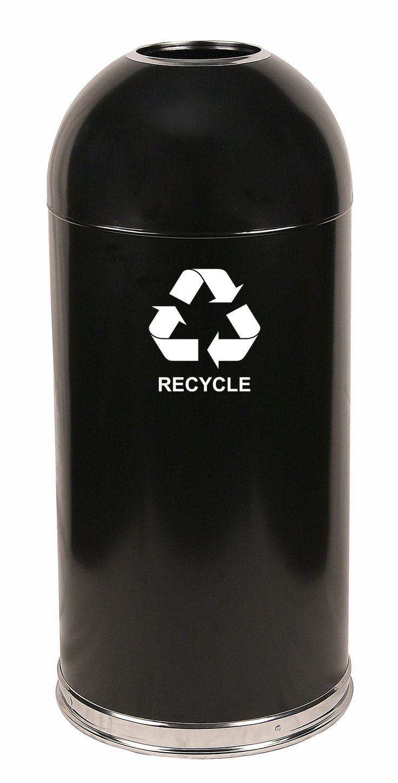 Dome Top 15-Gal Metal Series Open Industrial Recycling Bin