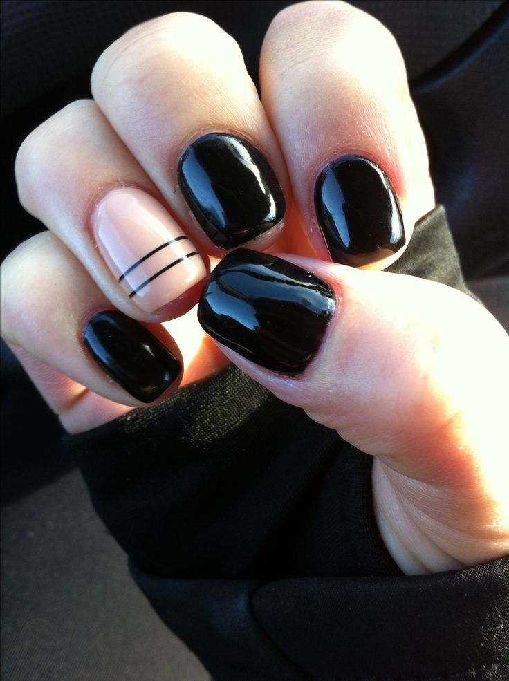 Black and nude accent nail with two stripes.  I wanted full stripes on the accent nail and matte black nails.  Next time