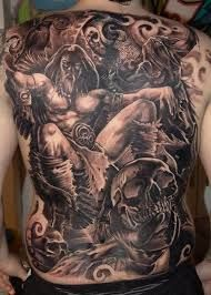 Again Piece Viking Warrior And Cranium Tattoos