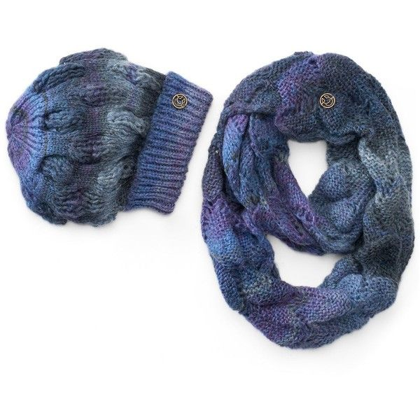 Women's Chaos Cadence Beanie & Charlotte Infinity Scarf Set ($45) ❤ liked on Polyvore featuring accessories and blue