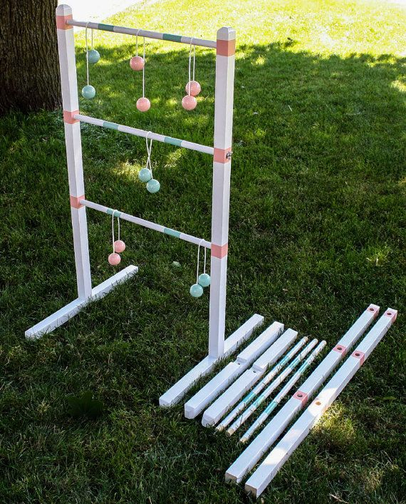 Tailgate Ladder Ball Games Favorite Sports Team Themed And Personalized Wedding Themed Wooden Ladder Toss Sets With Images Ladder Ball Wooden Ladder Ladder Toss