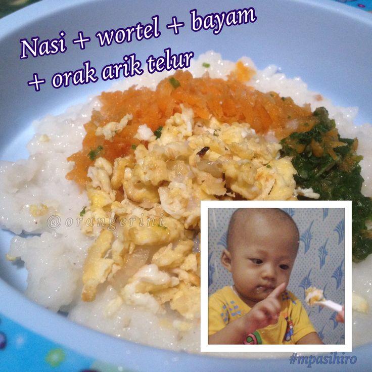 Nasi bayam wortel + orak arik telur