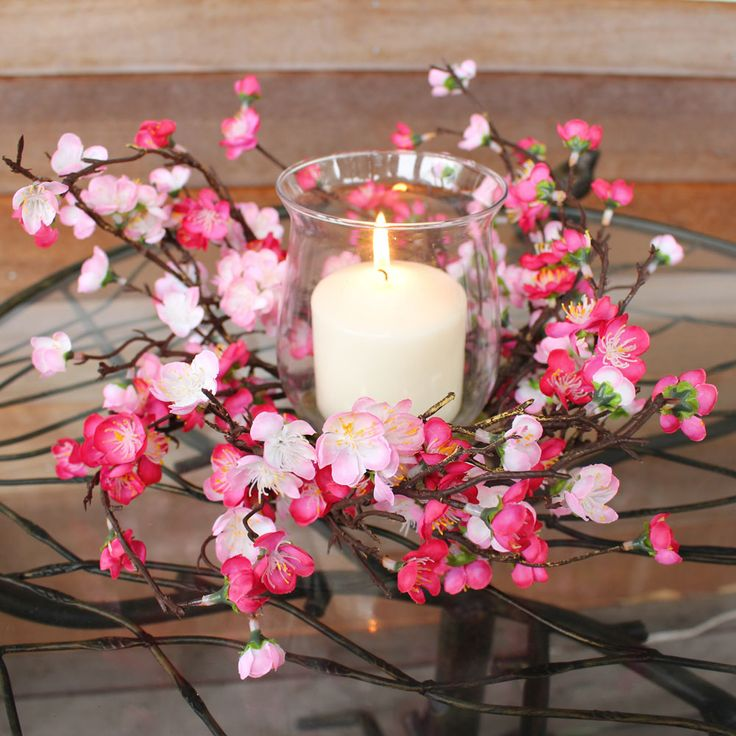 Looking for candle holders or spring wedding decor? This adorable, faux fuchsia pink cherry blossom candle ring is sold with a glass candle holder. These fuchsia pink blossoms will add a gorgeous touch to your candle holders to create a romantic spring centerpiece! #springwedding