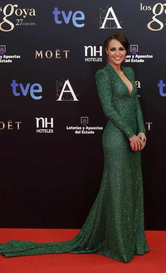 Bodylaser Málaga cree que la modelo y actriz Paula Echeverría, con un espectacular vestido verde de Dolores Promesas, fue una de las mujeres más elegantes de la gala de los Goya 2013.