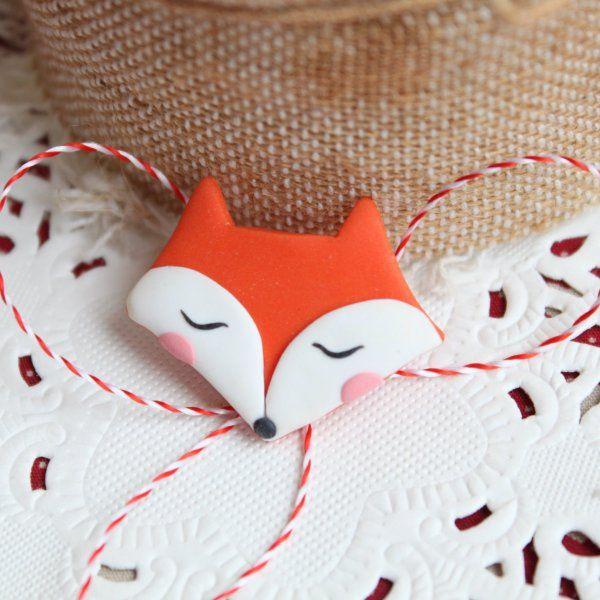 Cute fox - Polymer clay brooch