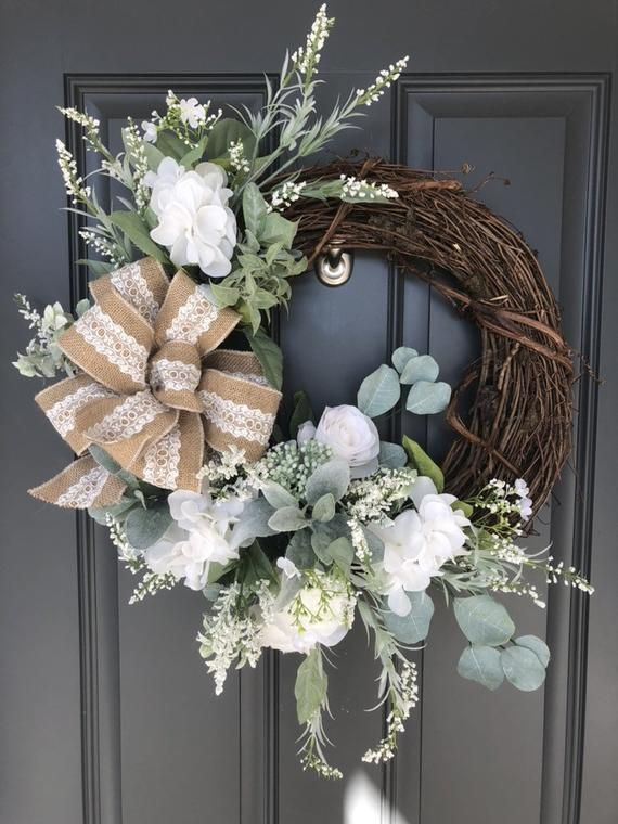 White Hydrangea And Rose Wreath Spring Burlap Wreath Wreath Decor Diy Spring Wreath
