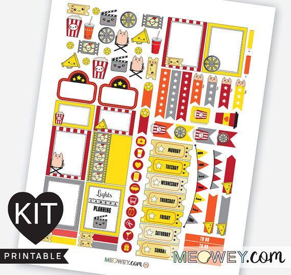 Movie Night Weekly Planner Kit Kawaii Stickers by HelloMeowey