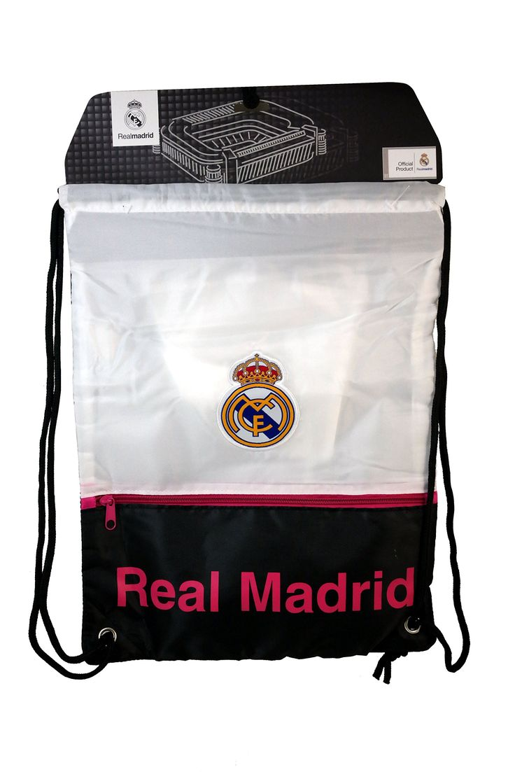 RHINOX REAL MADRID F.C. OFFICIAL CINCH BAG... WHITE/NAVY. REAL MADRID F.C. OFFICIAL LICENSED PRODUCT. IMPORTED. COLORS: NAVY/WHITE.
