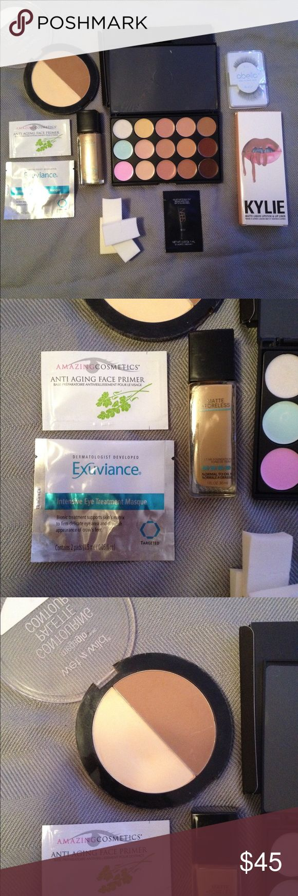 Bundle of Makeup INCLUDES:  Maybelline Matte + Poreless Foundation: 332 Golden Caramel, retails $7.99 Wet n Wild Megaglo Contour Palette: 750A Caramel Toffee, retails $4 Highlight, Contour, and Color Correcting Palette, $18 Kylie Lip Kit: Maliboo, retails $29 Abella Lashes: #12 Black, retails $3 Nars All Day Luminous Weightless Foundation: Santa Fe, $5 Nars Velvet Matte Skin Tint: St. Moritz, $5 Exuviance Intensive Eye Treatment, $5 Amazing Cosmetics Anti Aging Face Primer, $5 4 Blending…