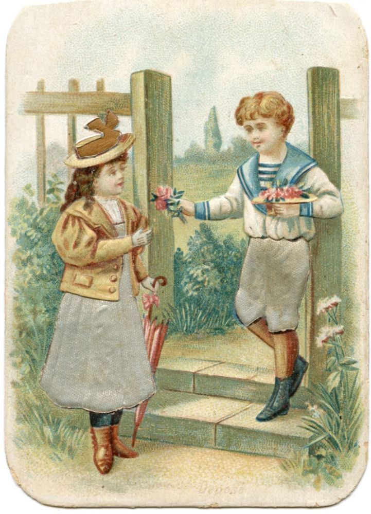 CHROMO. GAUFRé. EMBOSSED. ENFANTS. JOLIE JEUNE FILLE CHAPEAU. HAT. CHILDREN: