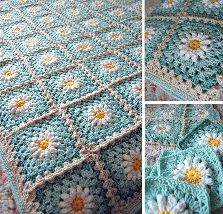 Daisy Flower Granny Square Afghan Blanket Throw.