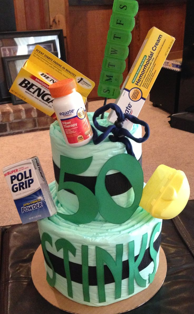 50th Birthday Adult Diaper Cake With Survival Needs For
