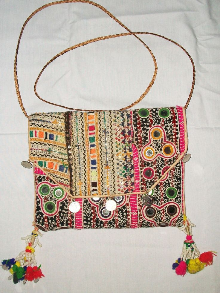 INDIAN VINTAGE BANJARA CLUTCH EMBROIDERY BOHO ETHNIC PURSE HANDMADE TRIBAL B #Handmade #Clutch