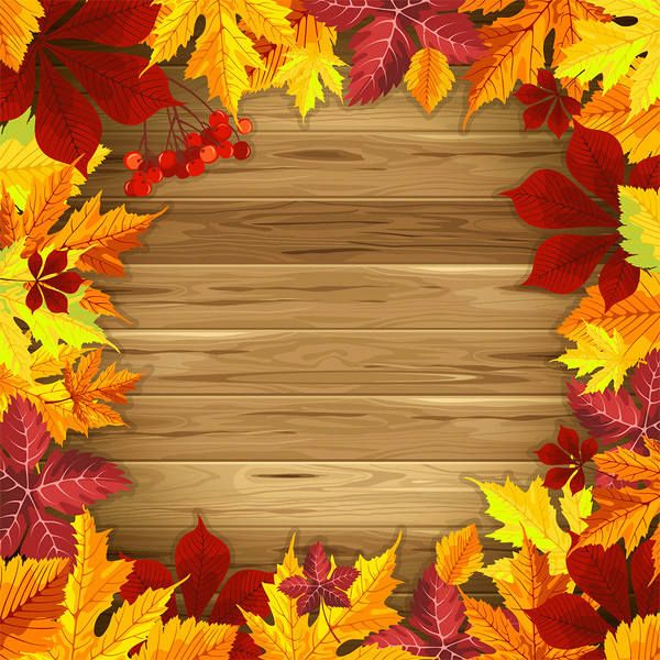 Wooden Fall Background with Fall Leaves