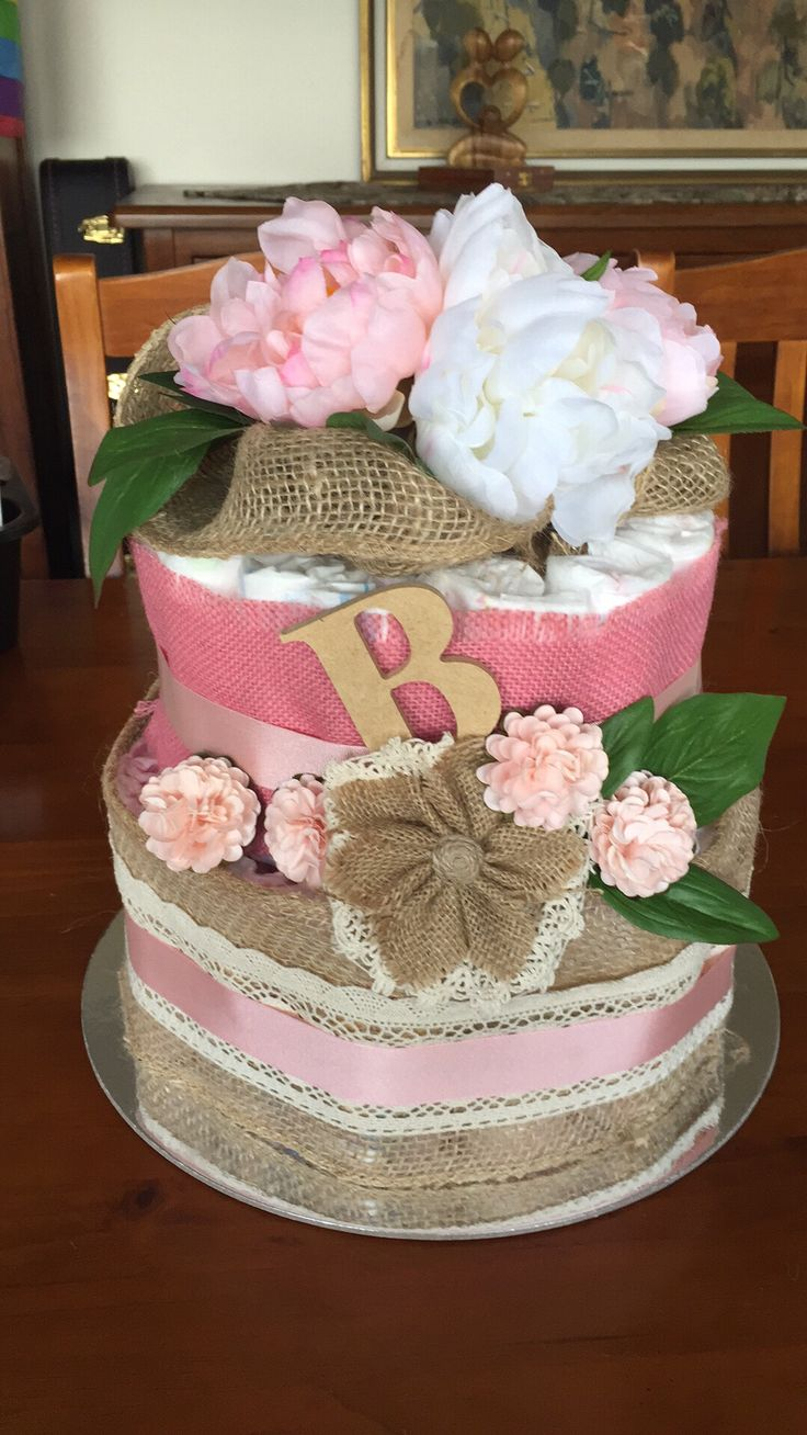 Diaper / nappy cake: burlap & bows #babygirl #peonies #lace