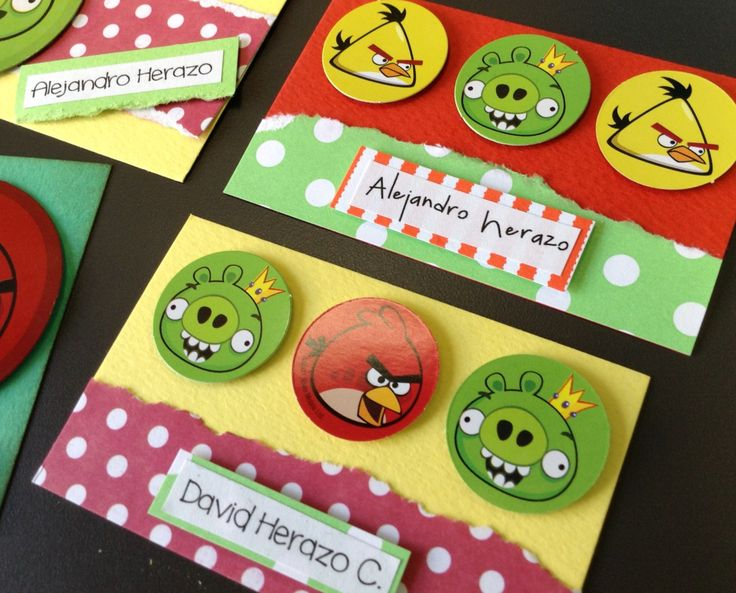Tarjetas personales infantiles Angry birds