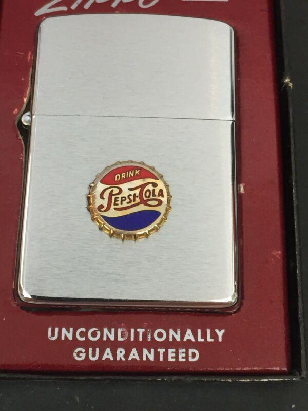 1958 Zippo Lighter Drink Pepsi Cola Emblem Very Near Mint In The Box Zippo Lighter Zippo Lighter