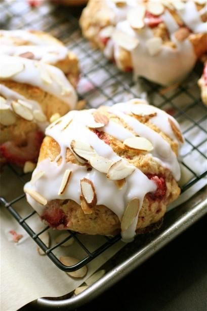 Delicious strawberry almond scones for brunch!