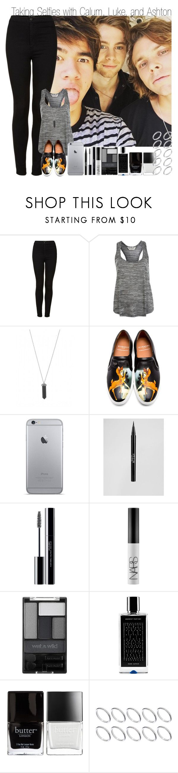 """""""Taking Selfies with Calum, Luke, and Ashton"""" by elise-22 ❤ liked on Polyvore featuring Topshop, Miss Selfridge, Karen Kane, Givenchy, Stila, shu uemura, NARS Cosmetics, Wet n Wild, Agonist and Butter London"""