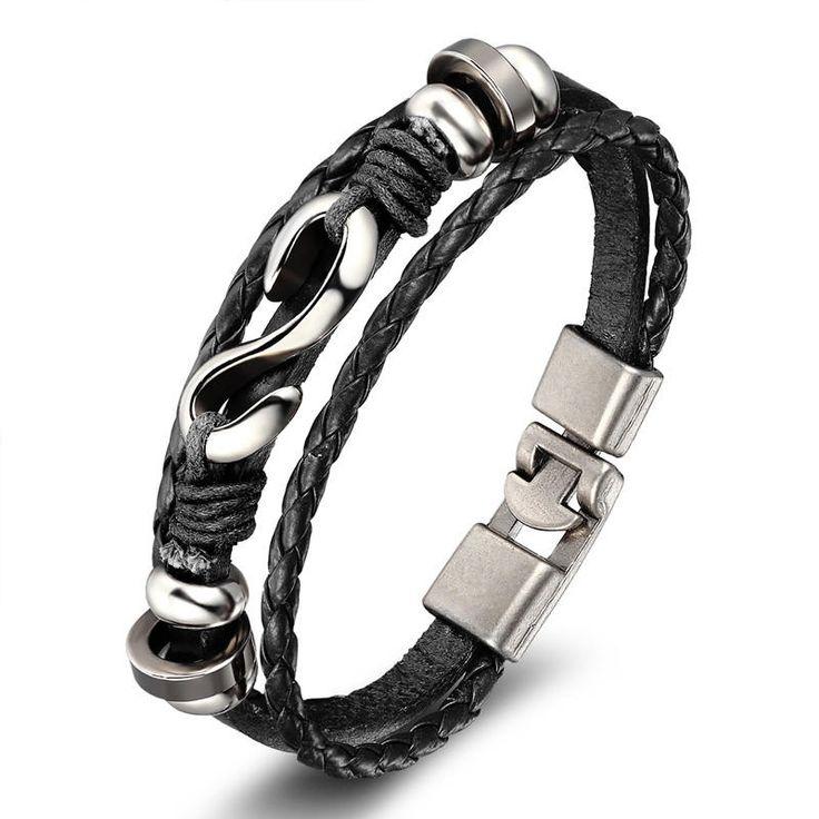 New 2017 Fashion Men's Leather Wrap Bracelet Men Fashion Punk Popular Wax Poker Star Skull Anchor Rope Bangle&Bracelet Jewelry by mylagiystore on Etsy