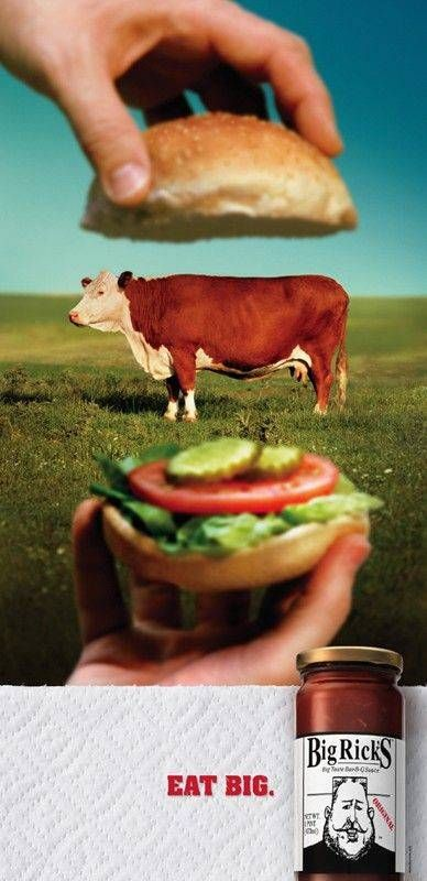 10 Creative Print Ad Campaigns That Will Make You Look Twice - BBQ Burger Print Advertising Campaign - Fast Food Sauce, Big Rick's Awesome Ads