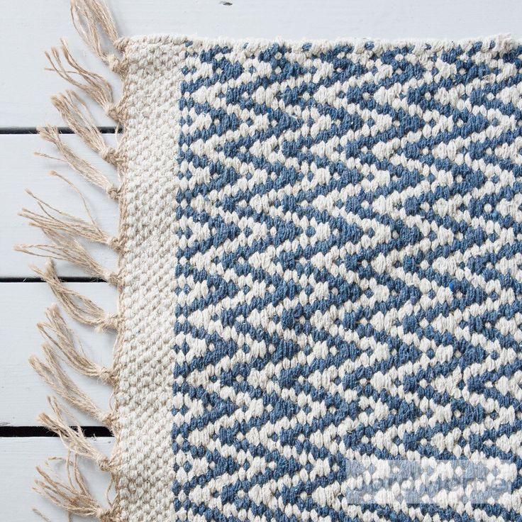 Tappeto geometrico blu indaco / intrecciato con cotone