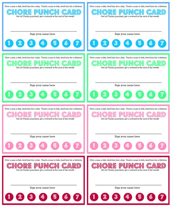 550westmount Chore Chart And Chore Punch Card For Kids