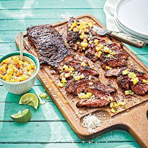 Coffee-Rubbed Skirt Steak (serve with something like Whole Foods Pineapple-Mango Salsa)