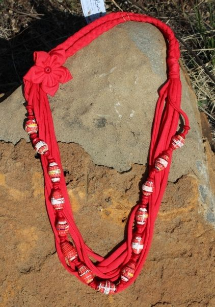 Red Cereal Box T-Shirt Scarf Necklace, 90cm long, R 170.00