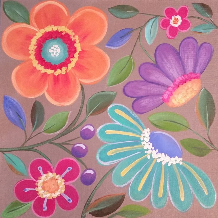 Easy Whimsical Flowers Acrylic Painting Tutorial for Beginners