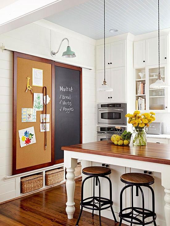 For a busy family, this is a great idea. Multitasking storage with a giant chalkboard