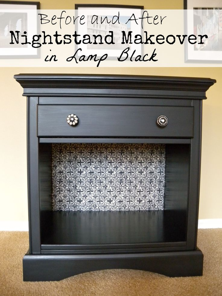 before and after nightstand makeover in Lamp Black