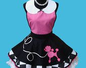 Black Friday Sale - Apron - Women's Poodle Apron - Poodle Skirt Costume Apron , 50s Retro Rockabilly Sock Hop Party Apron MADE TO ORDER