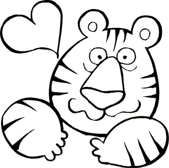 Valentines day coloring page tiger in love free printable valentines day coloring pages for kids from primarygames