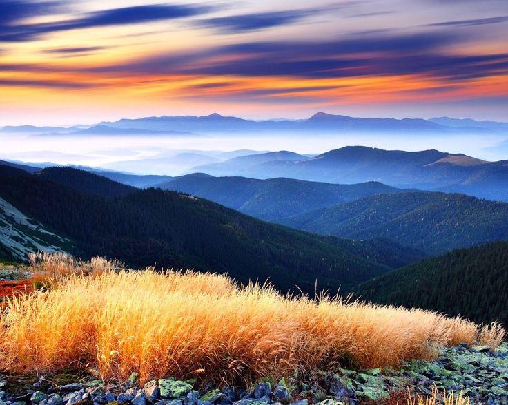 горы, туман, природа