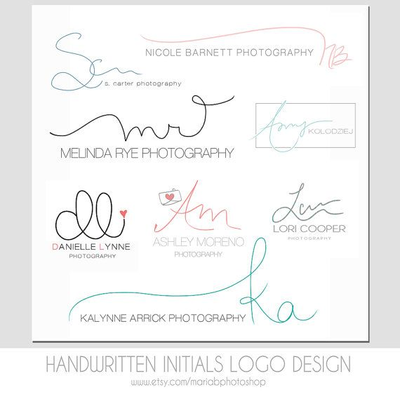 Custom Handwritten Double Initials Business Logo - photography watermark, simple, modern, elegant design