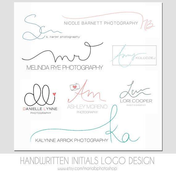 Custom Handwritten Double Initials Business Logo - photography watermark, simple, modern, elegant design