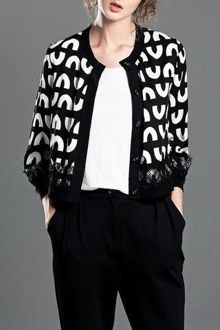 $77.99 Black and White Print Jacket