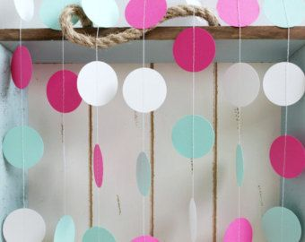 Menta verde, caliente rosa y blanco 12 pies círculo papel Garland-boda, cumpleaños, despedida de soltera, Baby Shower, decoraciones de fiesta