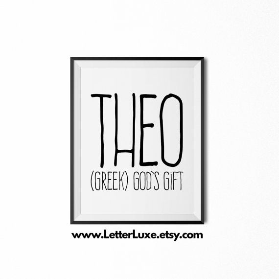 Theo Name Meaning Art  Printable Baby by LetterLuxePrintables