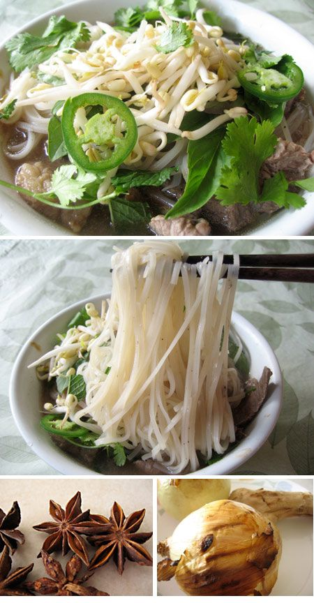 Pho | Broth: 3 pounds beef bones, 1 pound beef, onions, ginger, star anise, cinnamon, cloves, salt, pepper, sugar, fish sauce. | Soup: broth, banh pho noodles, very thinly sliced sirloin, onion, fresh mint, fresh Thai basil, fresh cilantro, bean sprouts, lime wedges, fresh jalapeno, hoisin sauce, sriracha sauce