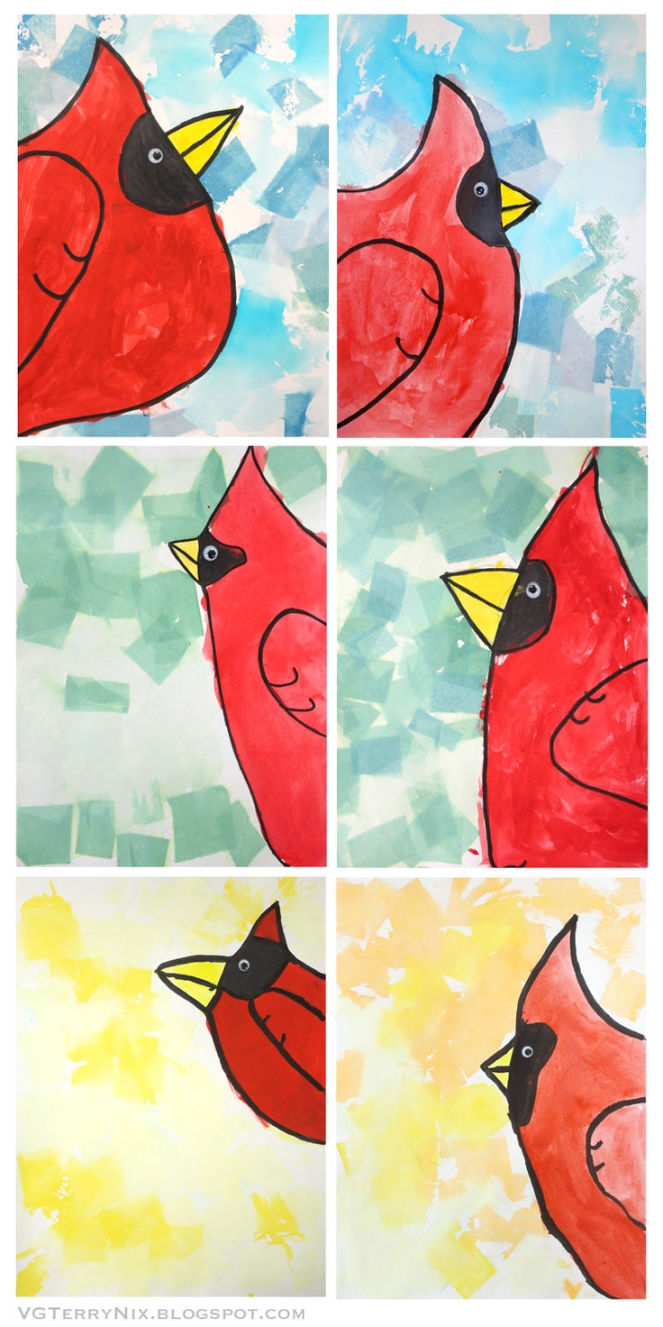Cardinals! (Art Lessons from my blog: Color and Texture and Paint, Oh My!)--Primary color art lesson idea
