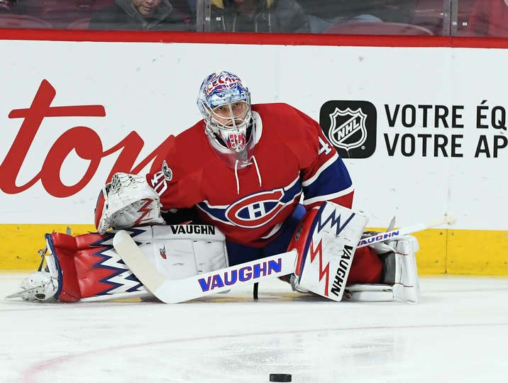 MONTREAL, QC - MARCH 30: Charlie Lindgren; #40of the Montreal Canadiens stretches before a game against the Florida Panthers in the NHL game at the Bell Centre on March 30, 2017 in Montreal, Quebec, Canada. (Photo by Francois Lacasse/NHLI via Getty Images)